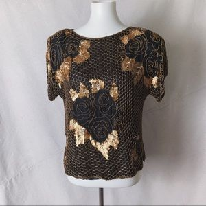 VINTAGE Silk Copper Beaded Evening Top Small
